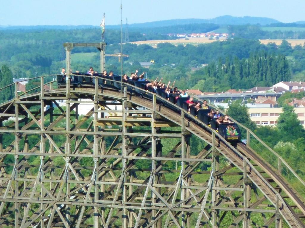 Walygator - coaster Anaconda, vue first drop